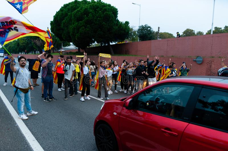Barcelona, Spain - 14 october 2019: independentists block ronda litoral highway in protest against the prison sentence of catalan royalty free stock photo