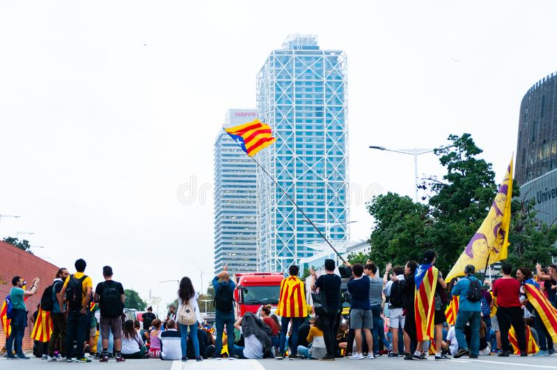 Barcelona, Spain - 14 october 2019: independentists block ronda litoral highway in protest against the prison sentence of catalan royalty free stock photography