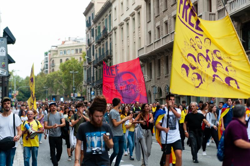 Barcelona, Spain - 14 october 2019: independentists march in laietana streets against the sentencing of catalan leaders holding stock image