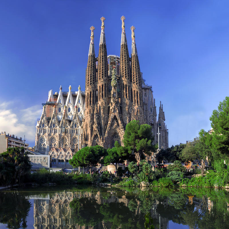 BARCELONA, SPAIN - OCTOBER 8: La Sagrada Familia cathedral. BARCELONA, SPAIN - OCTOBER 8: La Sagrada Familia - cathedral designed by Antonio Gaudi, view from the stock photo