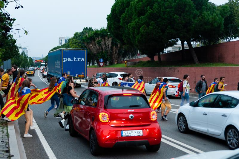 Barcelona, Spain - 14 october 2019: young independentists block ronda litoral highway in protest against the prison sentence of stock photos