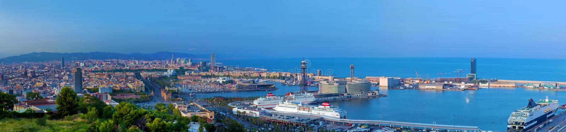 Barcelona, Spain panorama. Barcelona, Spain at summer. Very wide, high quality panorama stock photo