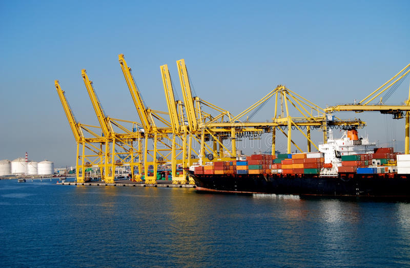 Container Ship in Port Barcelona Spain royalty free stock photo