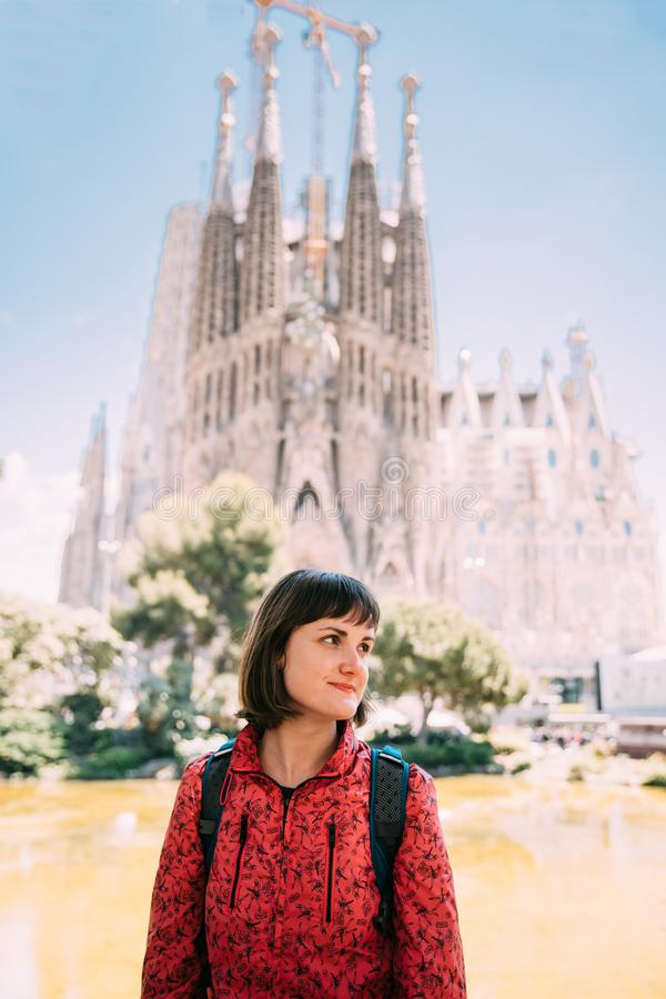 Barcelona, Spain. Portret Of Caucasus Beautiful Woman On Backgro royalty free stock image