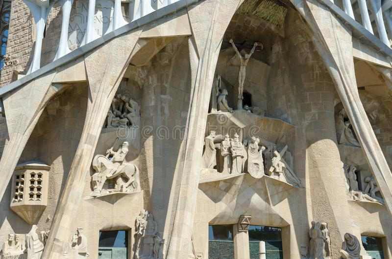 Fragment of famous Expiatory Church of Holy Family Sagrada Familia, Barcelona, Spain. BARCELONA, SPAIN - SEPTEMBER 13, 2018: Fragment of famous Expiatory Church stock image