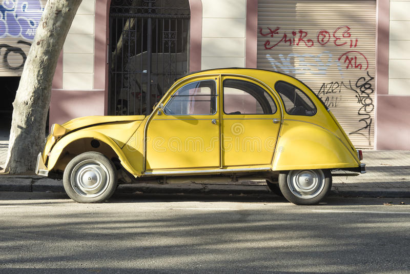 Barcelona, Spain - September 28. 2016: old timer car Citroen 2CV parked at the town street.  stock images