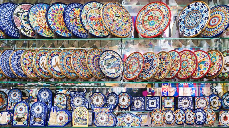 BARCELONA, SPAIN-17 SEPTEMBER: a show-window of gift shop with p stock image