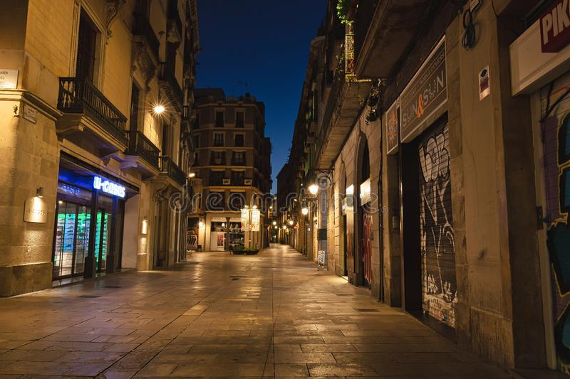 BARCELONA, SPAIN - September, 27th, 2018: Empty streets of Barcelona in the morning twilight stock photos