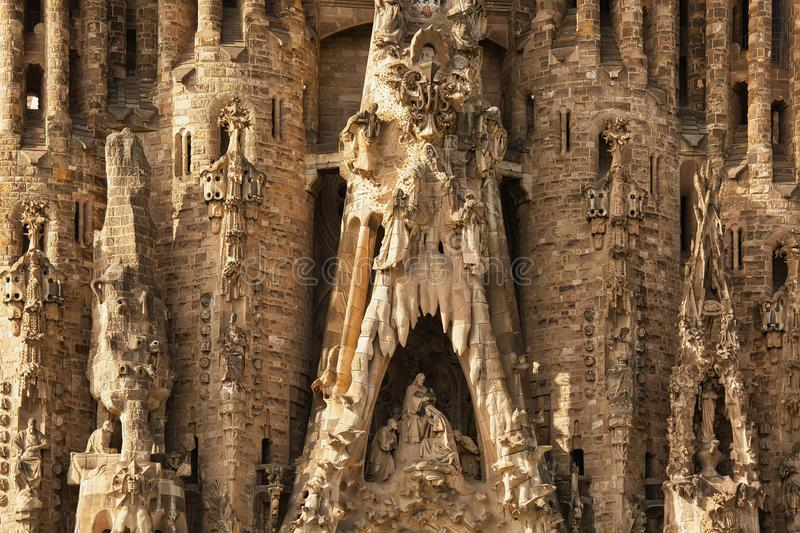 BARCELONA, SPAIN - September, 25th, 2018: Front facade of Sagrada Familia church in Barcelona, masterpiece of Antonio Gaudi still stock image