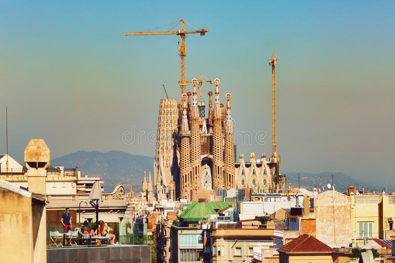 BARCELONA, SPAIN - September 28th, 2018: View to Sagrada Familia church, world-famous Gaudi architectural masterpiece still under royalty free stock image