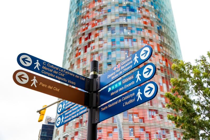 The Torre Glories, formerly known as Torre Agbar and some street signs in Barcelona, Spain. Barcelona, Spain - September 05, 2018: The Torre Glories, formerly stock image