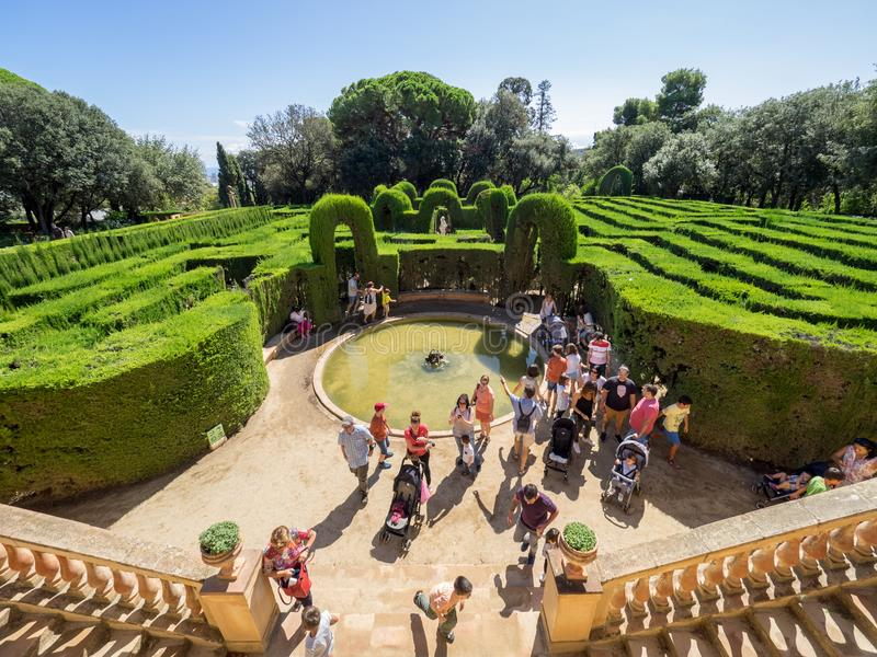 View of the tourists in the Horta`s Labyrinth royalty free stock photo