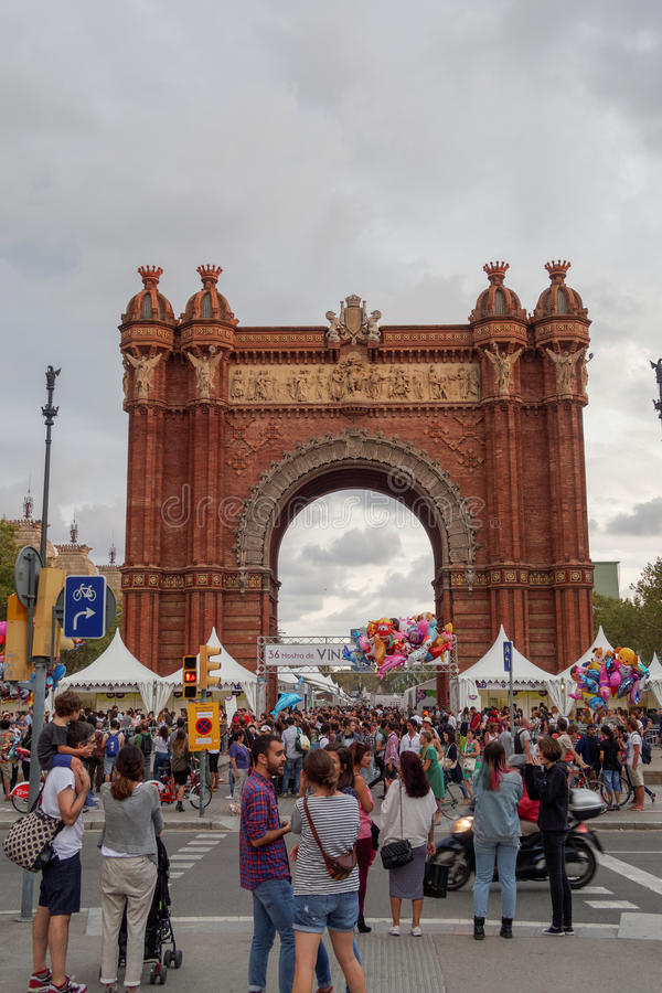 Barcelona, Spain - 25 September 2016: 36 Wine and Cava Festival 2016 visitors. 36 Mostra de Vins I Caves de Catalunya at the Arc de Triomf monument was part of royalty free stock photo