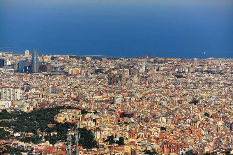 barcelona spain sikt wide arkivfoto