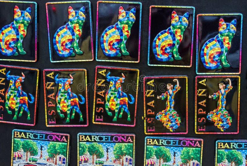 Barcelona, Spain. Souvenir magnets in Gaudi style.  stock photo