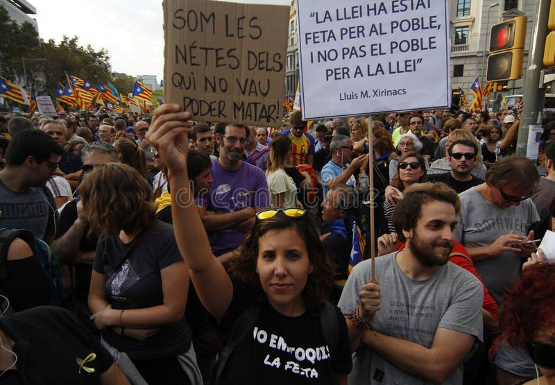 Peacefully protest against the arrests of two Catalan separatist leaders and to demand their liberation stock photography