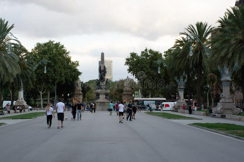 View from Arc de Triomf in Barcelona Spain. Barcelona, Spain - 25th July 2017 - View from Arc de Triomf with couples walking in front view royalty free stock photo