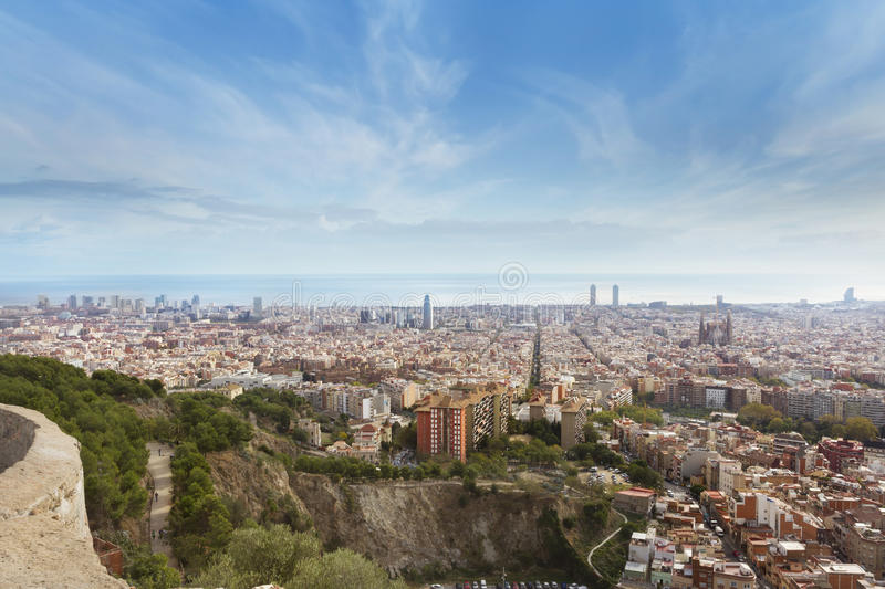 Barcelona, Spain. View of barcelona from Turo Rovira, Barcelona, Spain stock images