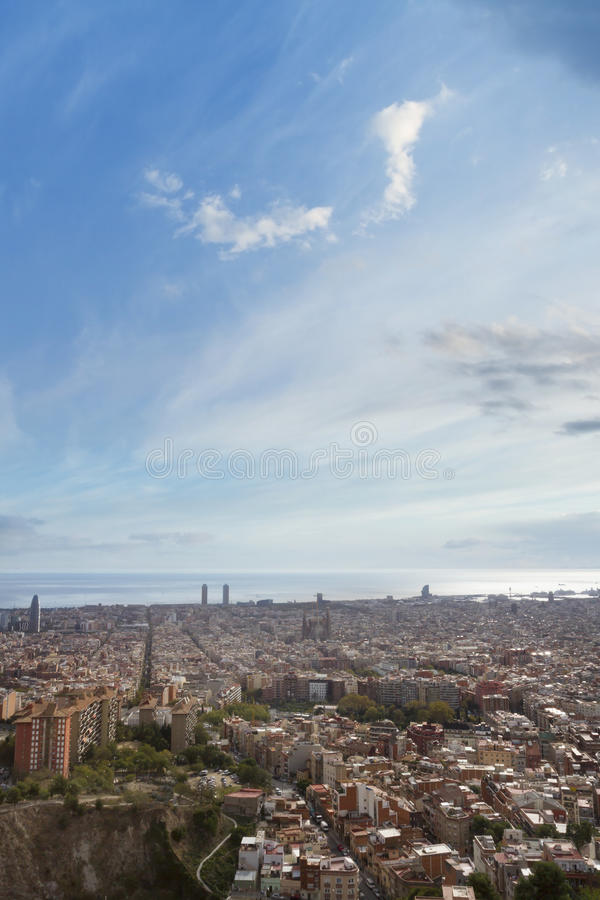 Barcelona, Spain. View of barcelona from Turo Rovira, Barcelona, Spain royalty free stock images