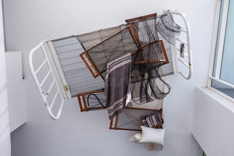 Barcelona, Spanien - 18. April 2016: Innenraum und Ausstellung in MACBA Museo De Arte Contemporaneo, Museum des Zeitgenossen lizenzfreie stockbilder
