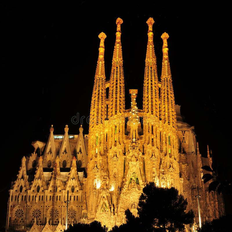 Sagrada Familia i Barcelona, Spanien arkivfoton