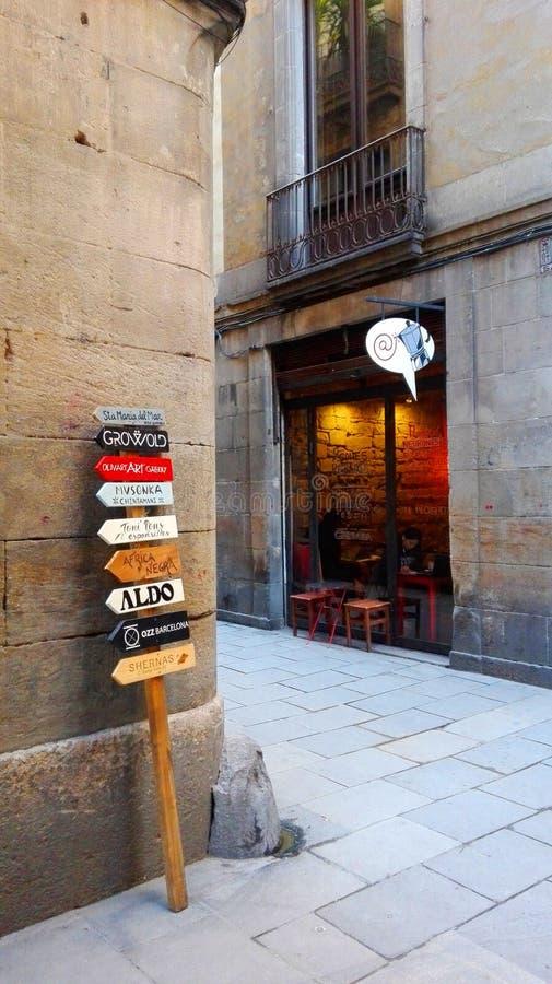 Barcelona Spanien Barrio del Uthärda är en perfekt blandning av förgånget och gåva för Barcelona ` s och i denna Barcelona granns arkivfoto