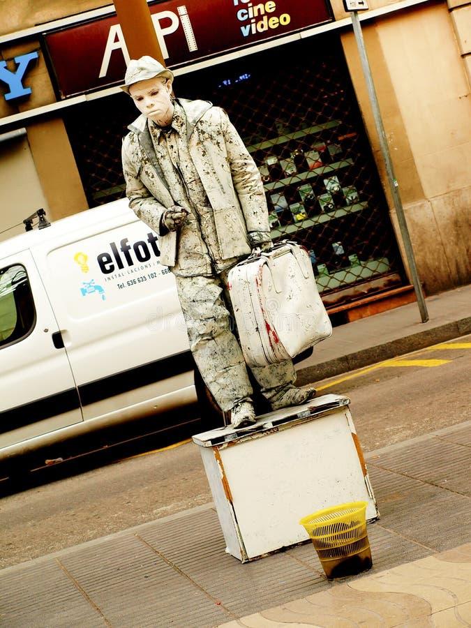 Barcelona, Spanien - imitieren Sie Straßenkünstler auf La Rambla stockfoto