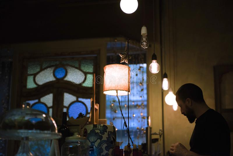 Barcelona Spanien, Kaffeeplatz, Pl?tzchen lizenzfreie stockfotos