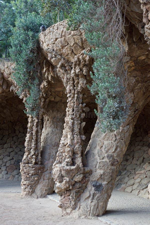 Barcelona Spanien parkerar Guel royaltyfria bilder