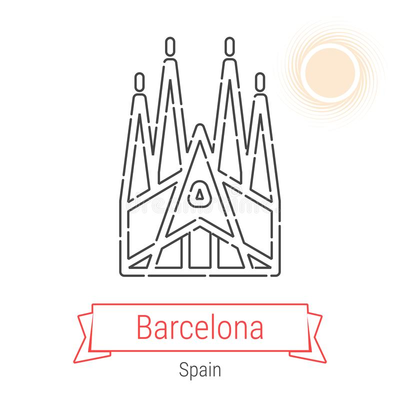 Barcelona Spanien vektorlinje symbol stock illustrationer