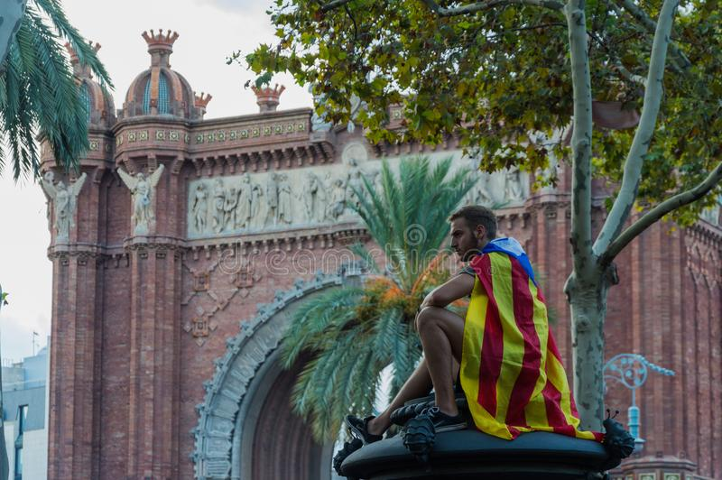 Barcelona, Spanje 10 Oktober, 2017: verklaring van Onafhankelijkheid royalty-vrije stock foto