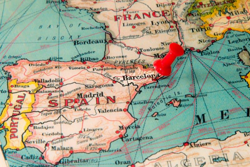 Barcelona, Spanje op uitstekende kaart van Europa wordt gespeld dat stock foto's