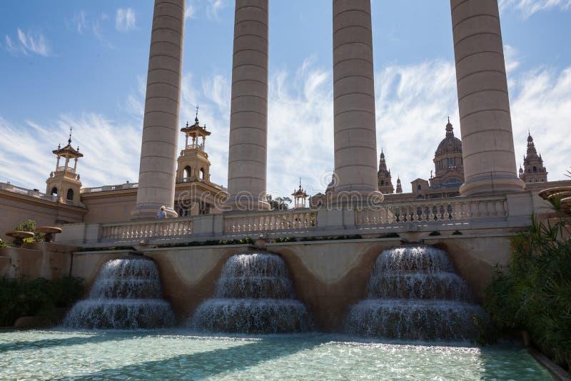 BARCELONA, SPANJE - 16 sept., de Mening van 2017 van de Fontein in het belangrijkste vierkant - Kapitaal van Catalonië in Spanje  royalty-vrije stock fotografie