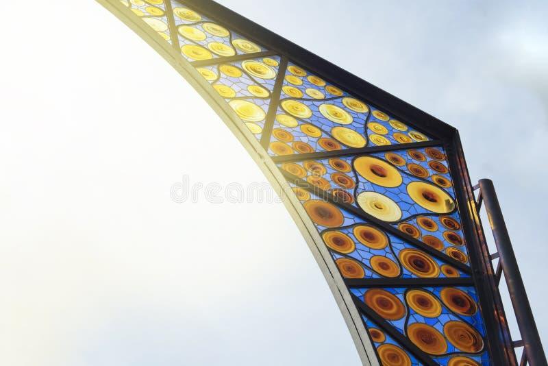 Barcelona, Spanje - September 26, 2016: Detail van glasontwerp van stock afbeelding