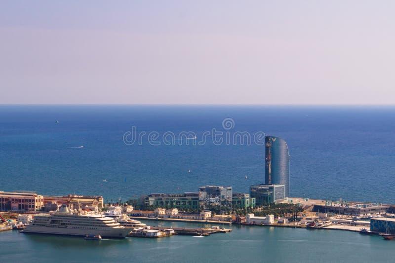 Barcelona, Spanje 04 September 2018: een mening van w-hotel van Montjuic stock foto