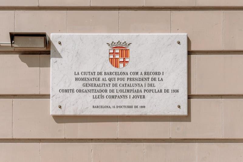 Barcelona, Spanje 04 September 2018: Een plaque van Olympics Stadion royalty-vrije stock foto