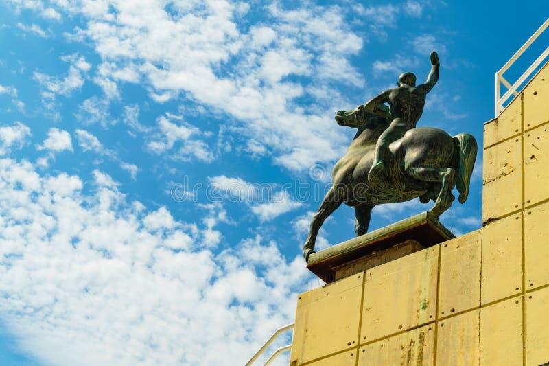 Barcelona, Spanje 04 September 2018: Een standbeeld van Olympics Stadion stock foto