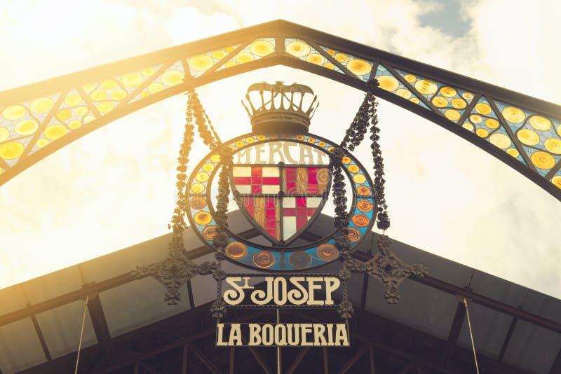 Barcelona, Spanje - September 26, 2016: Embleem van Boqueria-markt stock foto's