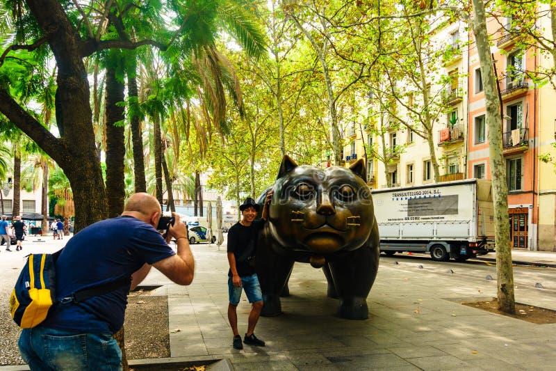 Barcelona, Spanje 03 September 2018: Gr Gato de Botero stock afbeelding