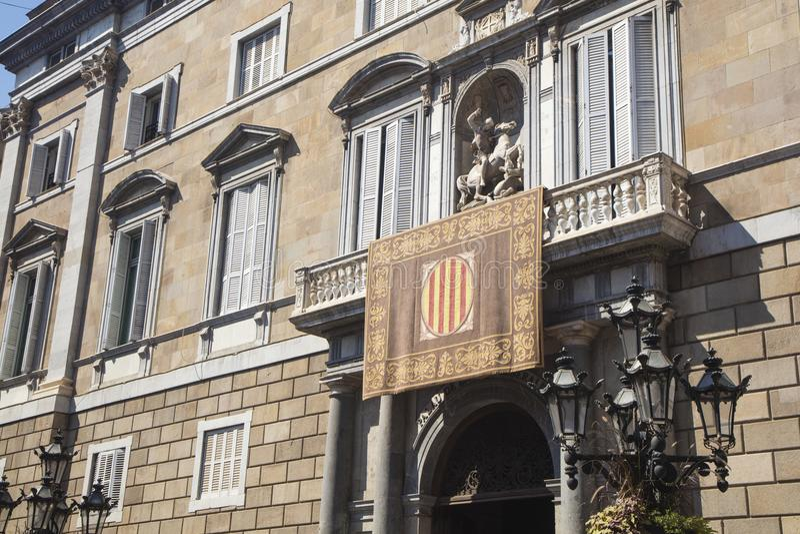 Barcelona, Spanje - September 24, 2017: Mening van voorgevel van Autonom royalty-vrije stock fotografie
