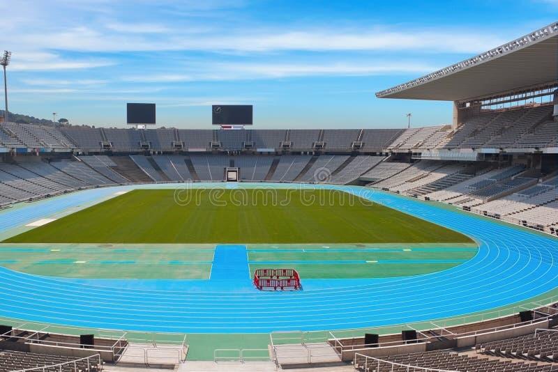 Barcelona stadium. Barcelona o;ympic stadium on sunny day stock photos
