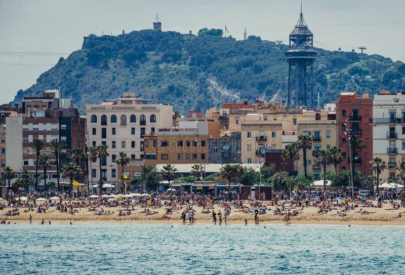 barcelona strand royaltyfri fotografi