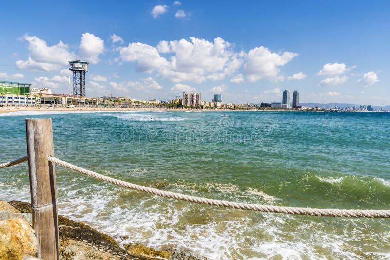 Barcelona strandpanorama, Spanien royaltyfri fotografi