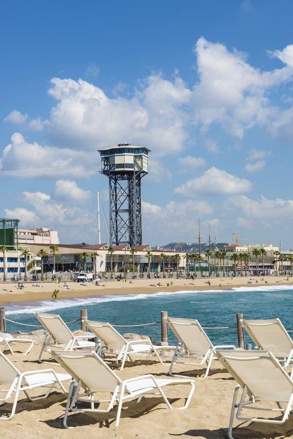 Barcelona strandpanorama, Spanien royaltyfri bild