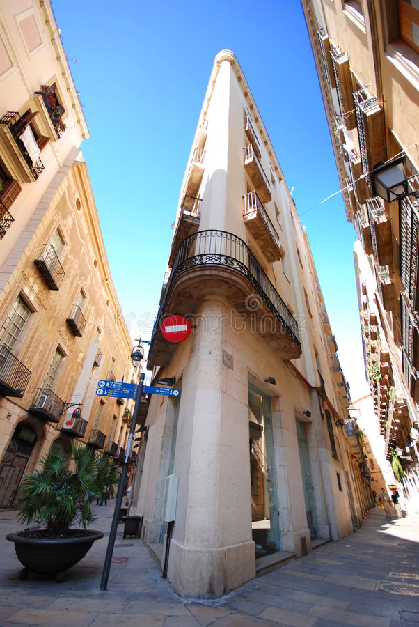 Barcelona Street. Buildings along street in Barcelona near the Gothic quarter in Spain royalty free stock photo