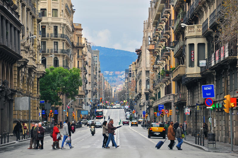 Download Barcelona street editorial stock photo. Image of downtown - 34119408