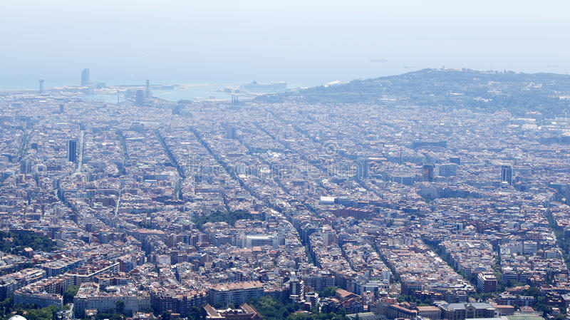 Barcelona streets and roofs. Barcelona panorama with port and streets, Catalonia, Spain, July 2016 royalty free stock photography
