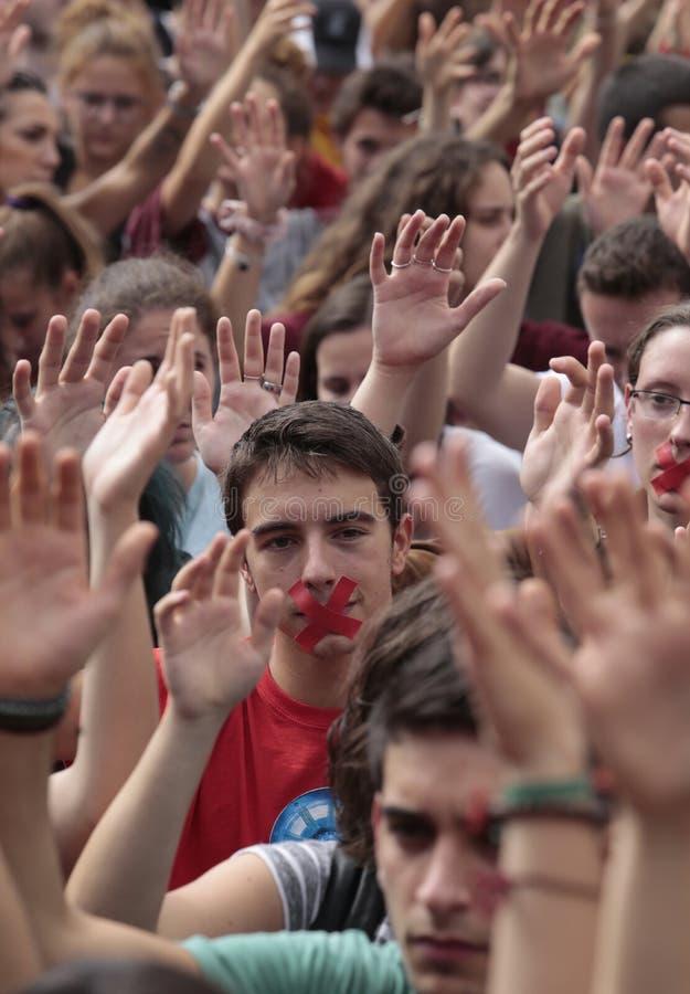 Barcelona studentdemonstration för självständighetlodlinje royaltyfri fotografi