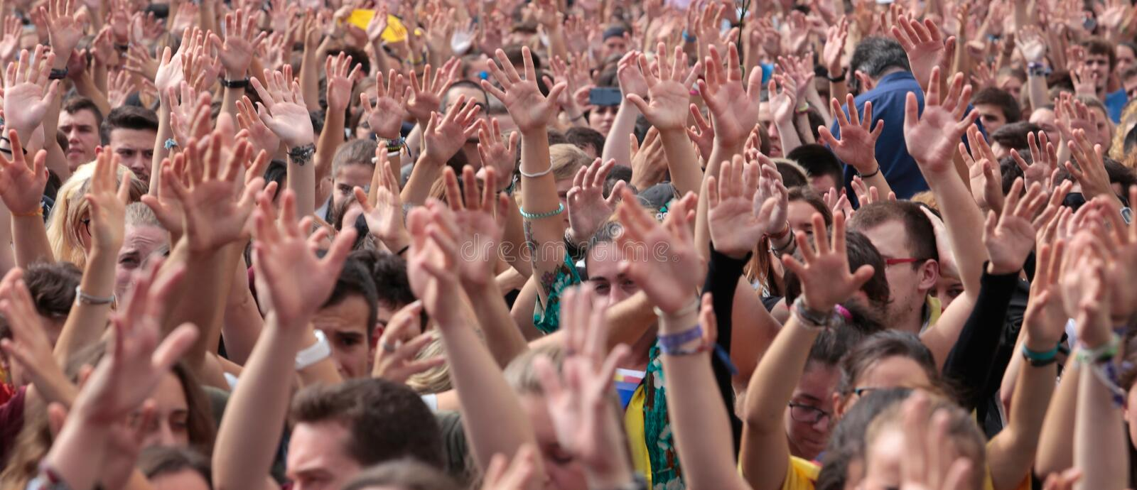 Barcelona students raise their hands during demonstration for independence wide royalty free stock photography