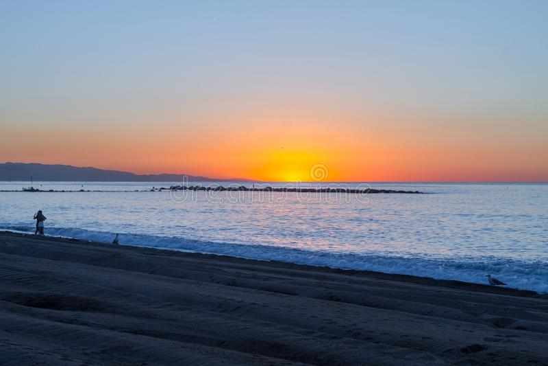 Barcelona sunrise stock photo